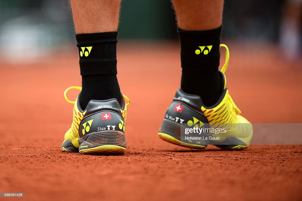 Stan Wawrinka's shoes during the Men's Singles on day eight of the French Open 2016 on May 29, 2016 in Paris, France.