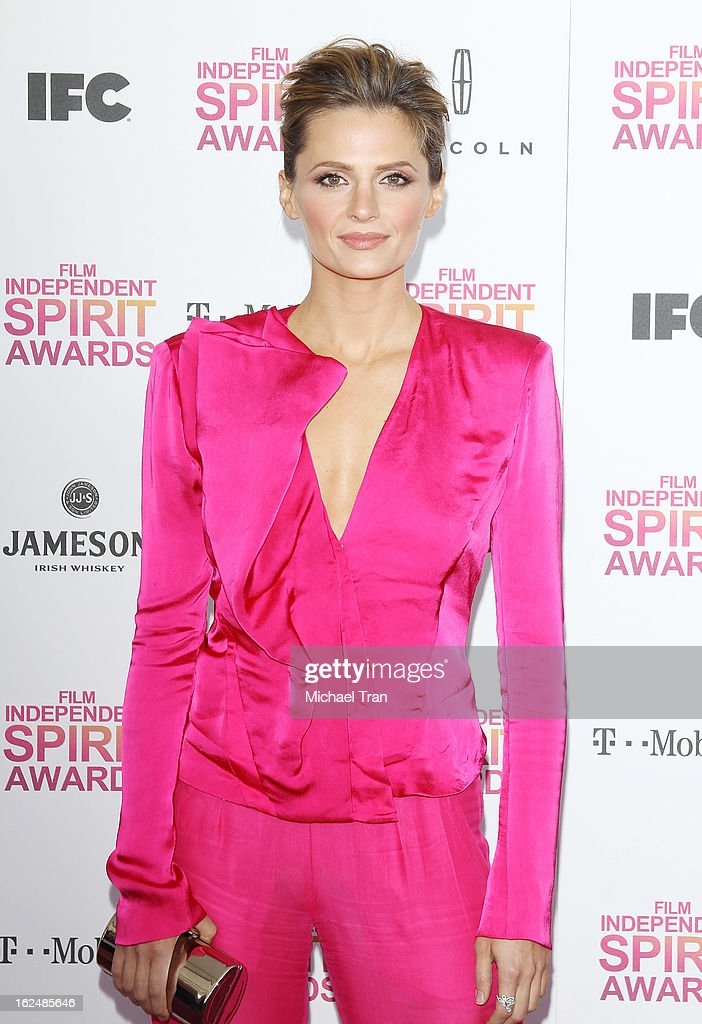 Stana Katic arrives at the 2013 Film Independent Spirit Awards held on February 23, 2013 in Santa Monica, California.