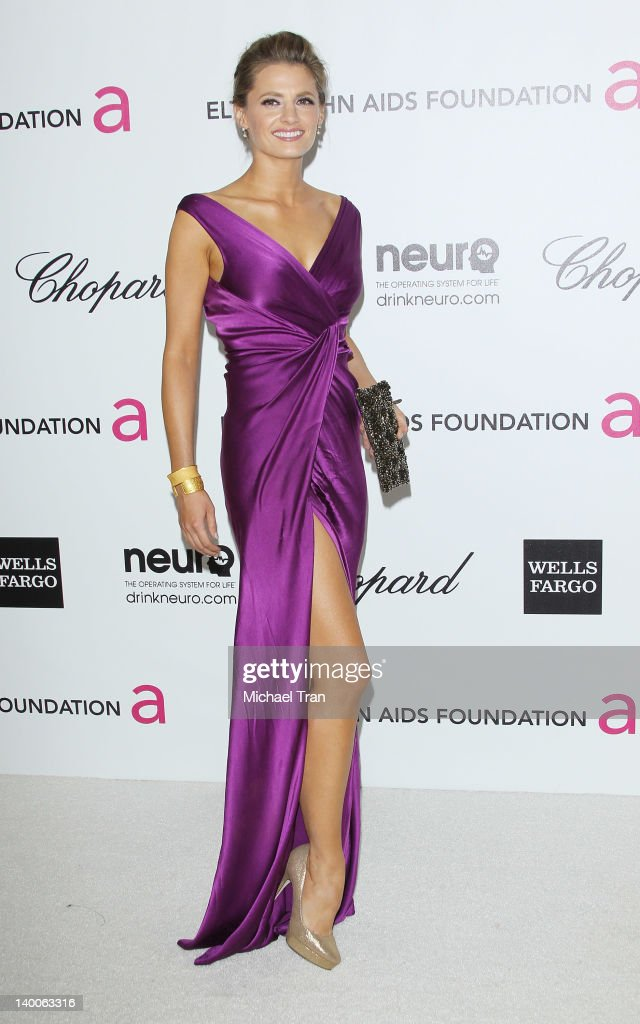 Stana Katic arrives at the 20th Annual Elton John AIDS Foundation Academy Awards viewing party held across the street from the Pacific Design Center on February 26, 2012 in West Hollywood, California.
