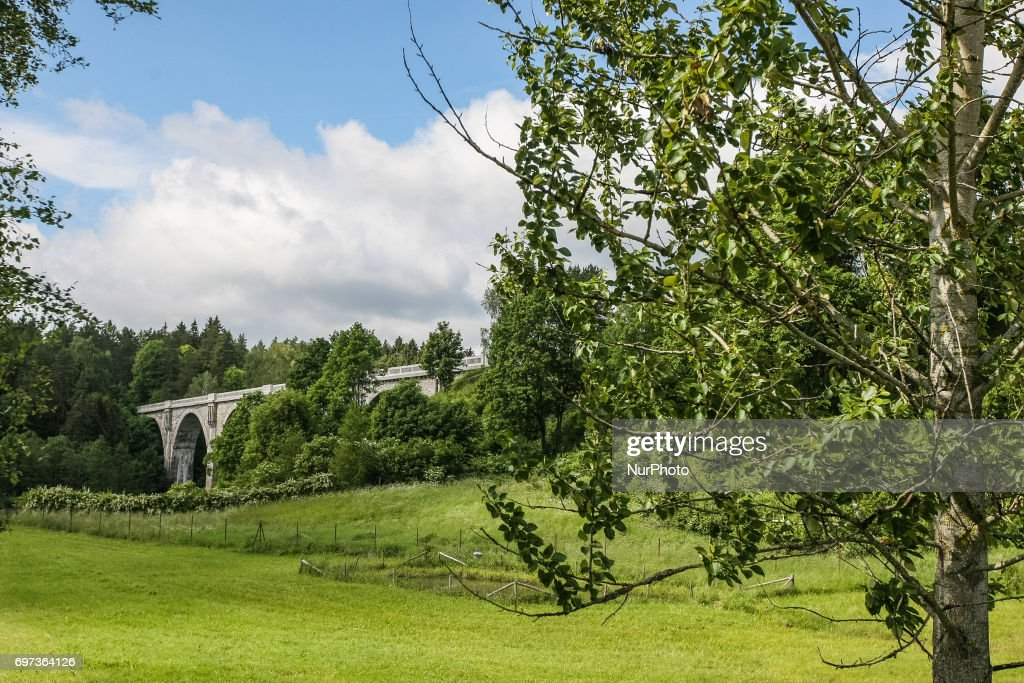 Stanczyki bridges are seen on 17 June 2017 in Stanczyki, Poland Bridges in Stanczyki are one of the highest bridges in Poland with over 36 m height and 180 length. Bridges are part of the non-working railway line between Goldap and Zytkiejmy in eastern Poland near Russia and Lithuania borders.