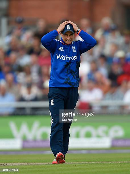 Stand in captain James Taylor reacts during the 5th Royal London OneDay International match between England and Australia at Old Trafford on...