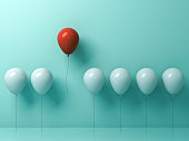 Stand out from the crowd and different concept , One red balloon flying away from other white balloons on light green pastel color wall background with reflections and shadows . 3D rendering.