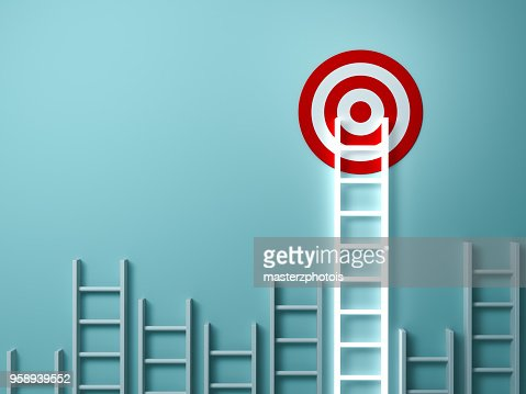 Stand out from the crowd and different creative idea concepts , Longest light ladder glowing and aiming high to goal target among other short ladders on green background with shadows . 3D rendering : Stock Photo
