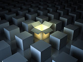 Stand out from the crowd , different creative idea concepts , One luminous opened light box glowing among closed white square boxes on dark background with reflections and shadows. 3D rendering.