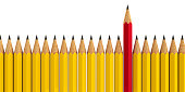 Red pencil among yellow pencils - conceptual image of the individuality, three-dimensional rendering, 3D illustration