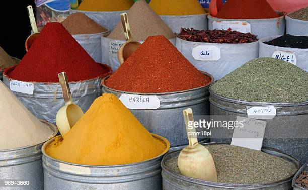 stand with Moroccan spices on Arabic market