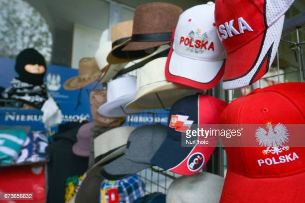 A stand with some Polish souvenirs and memorabilia seen in Warsaw's Old Town On Tuesday April 26 in Warsaw Poland