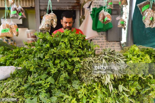 A stand with the green vegetables seen inside Rabat's medina On Friday June 30 in Rabat Morocco