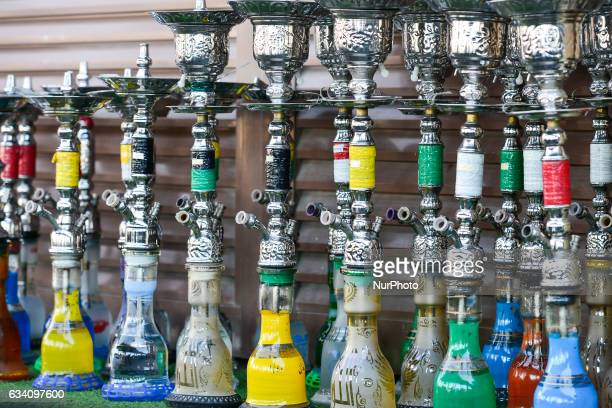 A stand with traditional nargile for sale inside a market in Dubai Old Town On Monday 6 February in Dubai UAE
