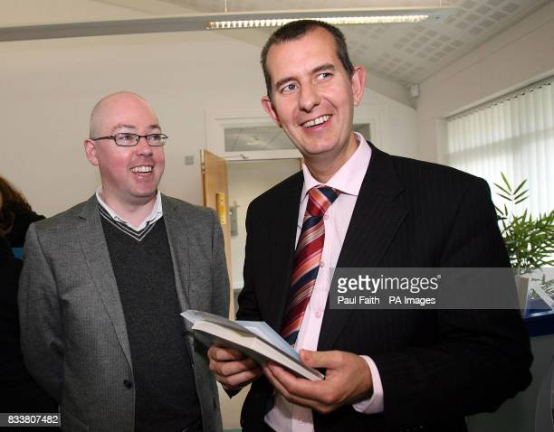 Standalone Photo Irish author John Boyne poses for photographs Norther Ireland Assembly Minister for Culture Arts and Leisure Edwin Poots at the...