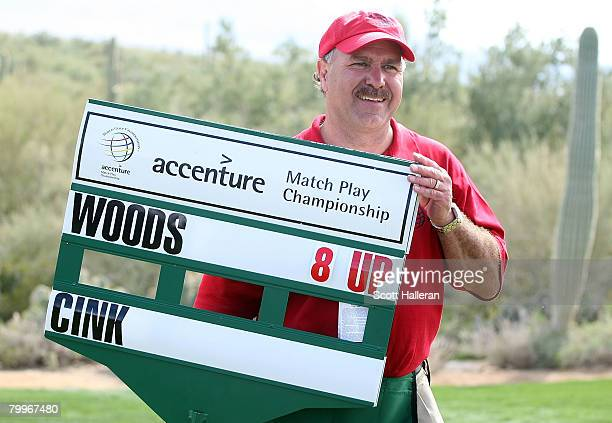 A standard bearer as seen after the Championship match of the WGCAccenture Match Play Championship at The Gallery at Dove Mountain on February 24...