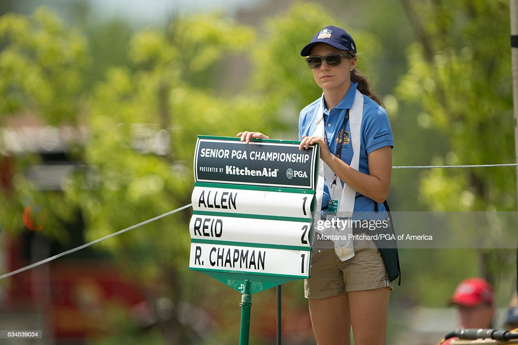 Standard bearer during the first round for the 77th Senior PGA Championship presented by KitchenAid held at Harbor Shores Golf Club on May 26, 2016 in Benton Harbor, Michigan.