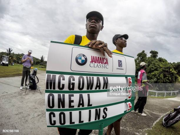 A standard bearer is seen during the third round of the PGA TOUR Latinoamerica BMW Jamaica Classic at Cinnamon Hill Golf Course on June 17 2017 in...