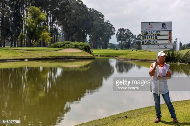 A standard bearer watches the action during the final round of the PGA TOUR Latinoamerica 70 Avianca Colombia Open at Club Campestre Guaymaral on...