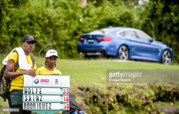 Standard bearers are seen during the final round of the PGA TOUR Latinoamerica BMW Jamaica Classic at Cinnamon Hill Golf Course on June 18 2017 in...