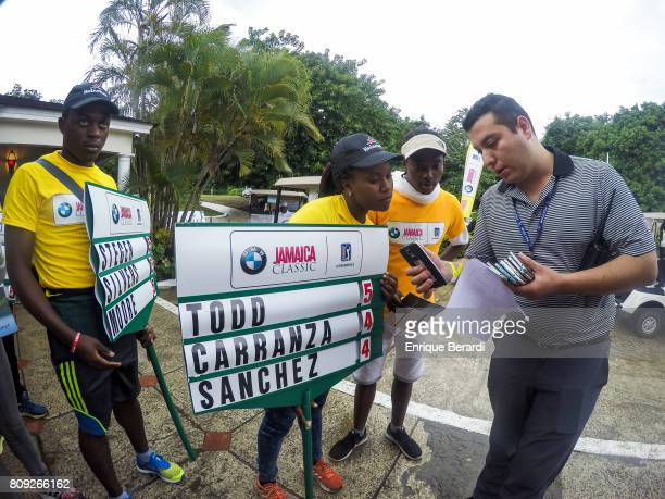 Standard bearers are seen during the third round of the PGA TOUR Latinoamerica BMW Jamaica Classic at Cinnamon Hill Golf Course on June 17 2017 in...