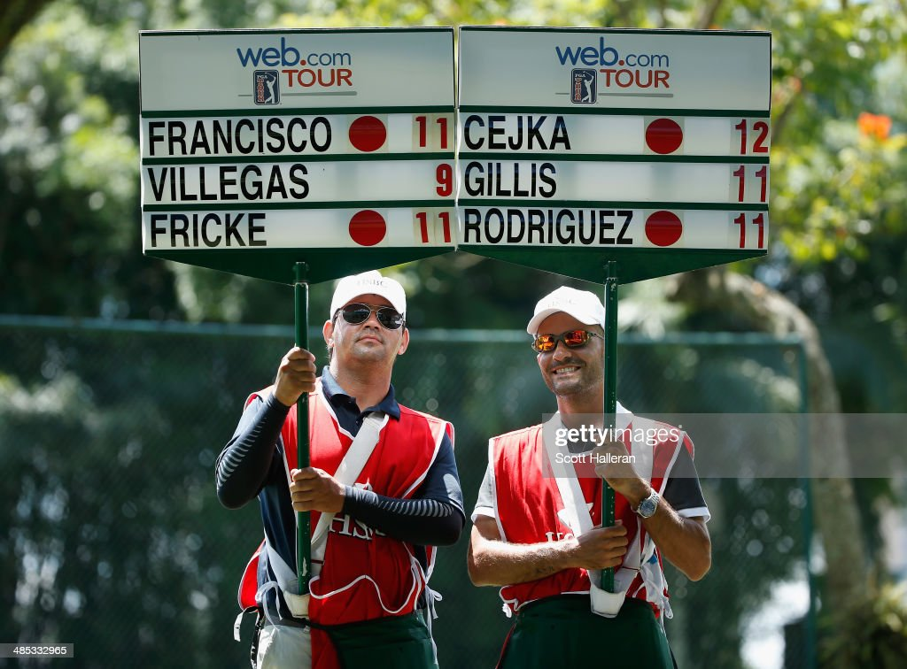 Standard bearers are seen on the second hole during the third round of the 2014 Brasil Champions Presented by HSBC at the Sao Paulo Golf Club on March 15, 2014 in San Paulo, Brazil.