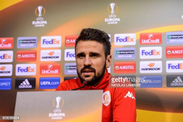 Standard de Liege's Portuguese forward Orlando Sa attends a press conference on December 7 2016 in Liege on the eve of the club's Europa League group...