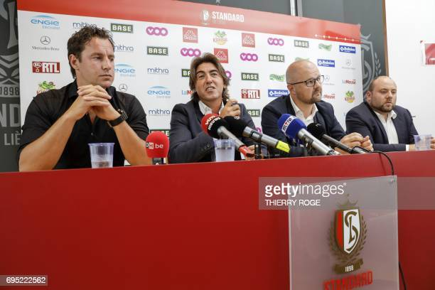 Standard Liege sporting director Olivier Renard new coach Ricardo Sa Pinto and commercial director Alexandre Grosjean hold a press conference to...