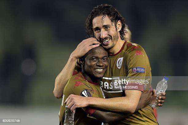 Standard Liege's forward Ishak Belfodil and defender Collins Fai celebrate after the UEFA Europa League Group G football match between Panathinaikos...