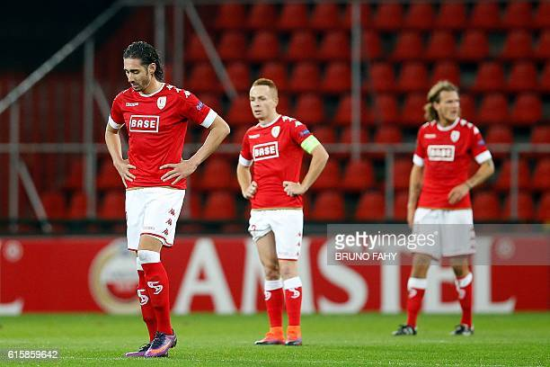 Standard Liege's Ishak Belfodil reacts after his team conceded a goal during the UEFA Europa League group G football match between Standard Liege and...