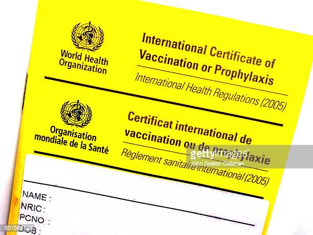 Standard yellow World Health Organization vaccination record booklet