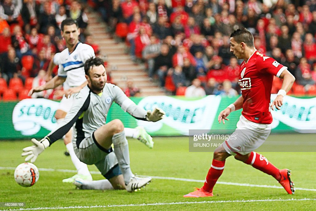 Standard's Anthony Knockaert scores a goal past Zeljeznicar's goalkeeper Marijan Antolovic during the UEFA Europa League third qualifying round...
