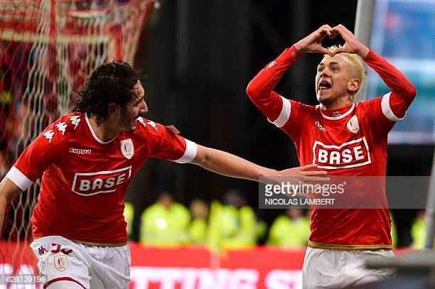 Standard's Brazilian midfielder Junior Edmilson celebrates after scoring a goal during the Belgian soccer championship Jupiler Pro League match...