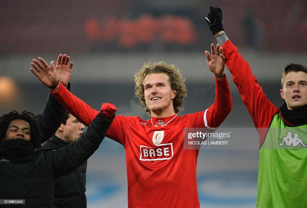 Standard's Danish defender Alexander Scholz reacts during the Jupiler Pro League football match between Standard de Liege and KRC Genk in Liege...
