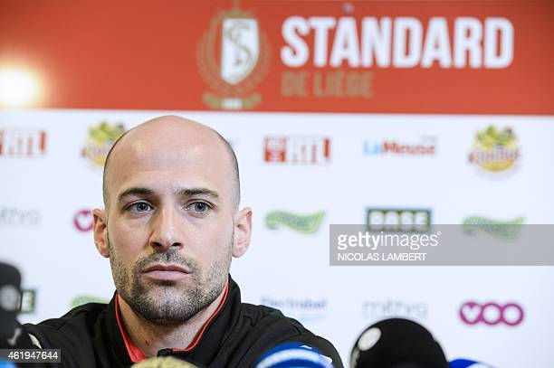 Standard's football player Laurent Ciman gives a press conference in Liege on January 22 2015 AFP PHOTO /BELGA/ NICOLAS LAMBERT BELGIUM OUT