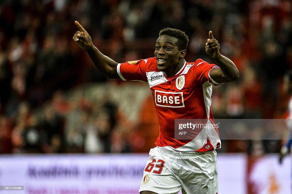 Standard's Geoffrey Mujangi Bia celebrates after scoring the 11 goal during the UEFA Europa League football match Standard de Liege vs Esbjerg in...