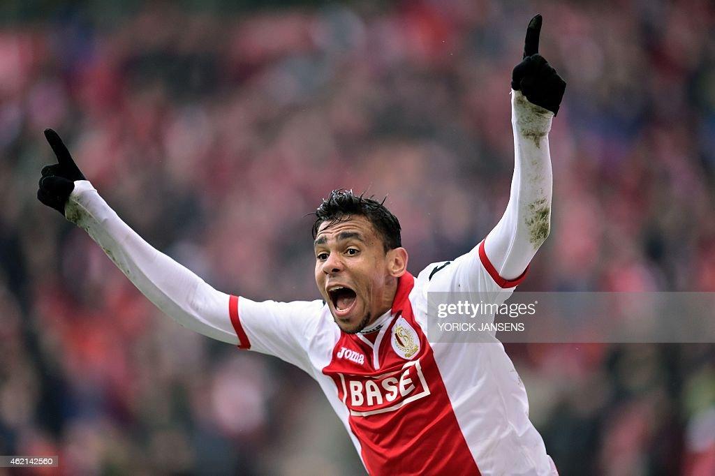 Standard's Igor de Camargo celebrates after scoring during the Jupiler Pro League match between Standard de Liege and RSC Anderlecht in Liege on...