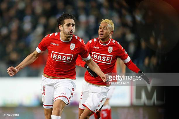 Standard's Ishak Belfodil celebrates after scoring during the Jupiler Pro League match between Charleroi and Standard de Liege in Charleroi on...