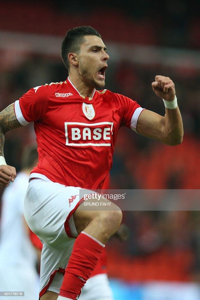 Standard's Jorge Teixeira celebrates after scoring a goal during the Croky Cup 1/4 final game between Standard de Liege and KV Kortrijk in Liege on...