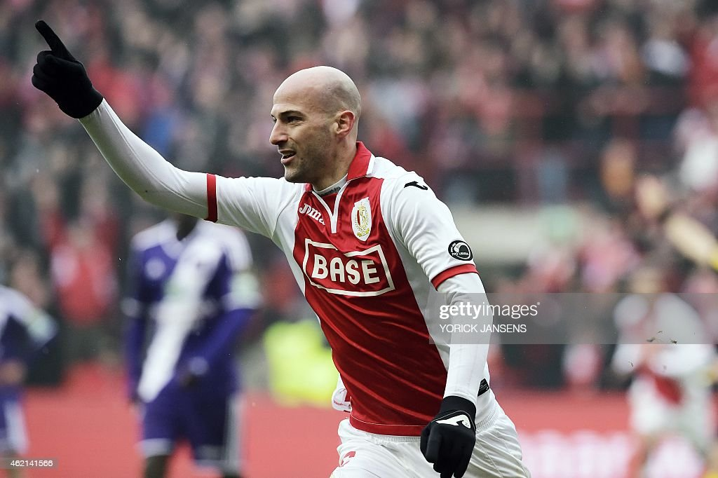 Standard's Laurent Ciman celebrates after scoring during the Jupiler Pro League match between Standard de Liege and RSC Anderlecht in Liege on...
