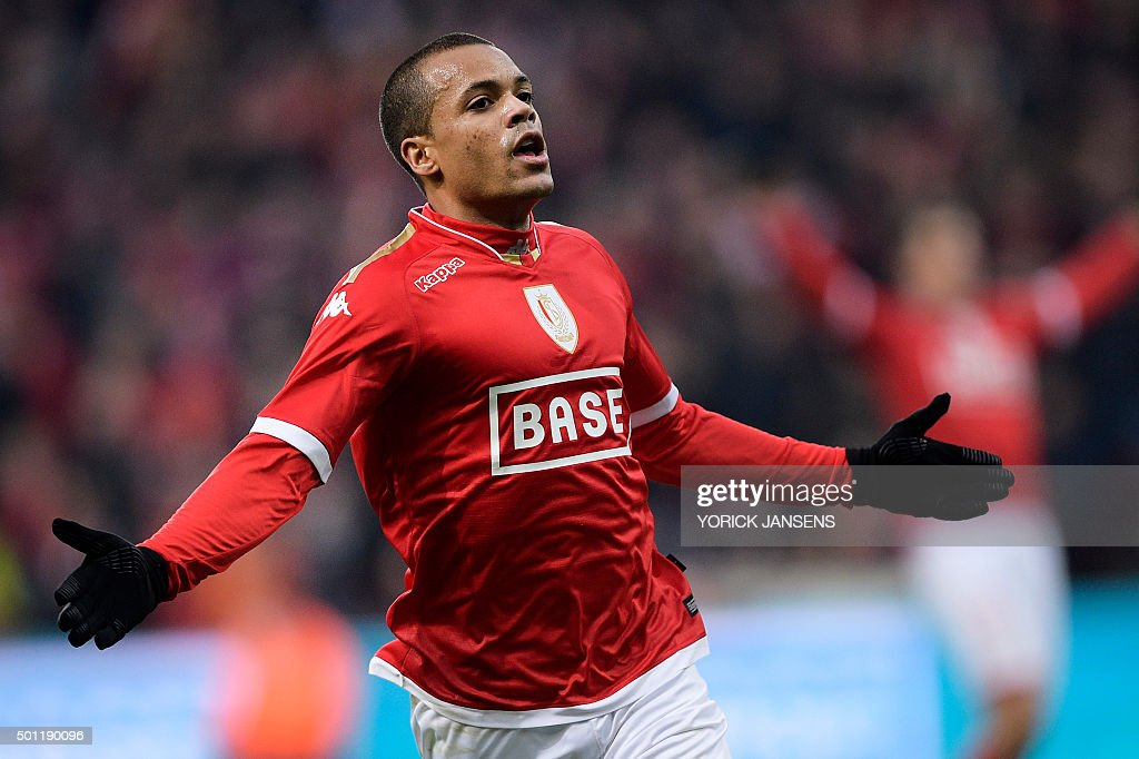 Standard's Matthieu Dossevi celebrates after scoring during the Jupiler Pro League match between Standard de Liege and Club Brugge in Liege on...