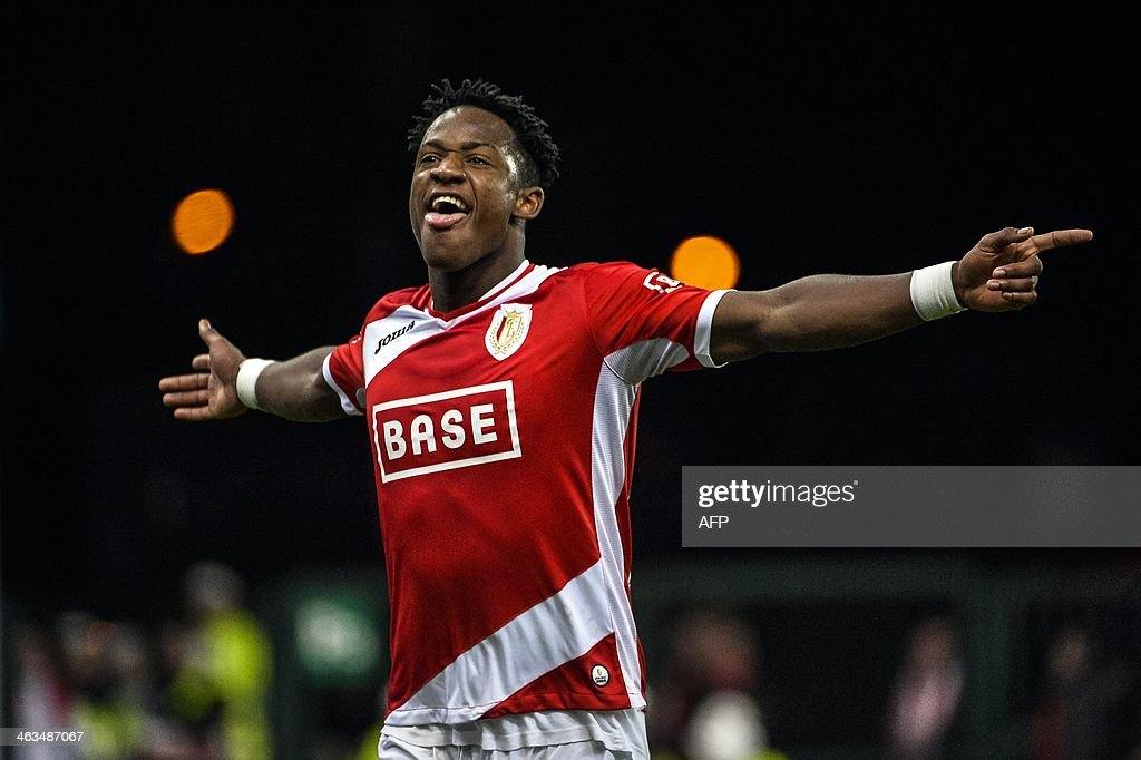 Standard's Michy Batshuayi celebrates after scoring a goal during the Jupiler Pro League match between Standard de Liege and KV Oostende in Liege on...