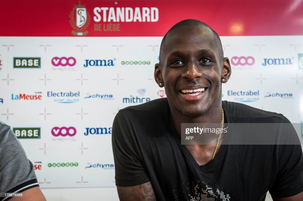 Standard's new player French Yohann Thuram speaks during a press conference of the Belgian first division football team Standard de Liege to present a new player,on August 6, 2013 in Liege. AFP PHOTO /NICOLAS LAMBERT