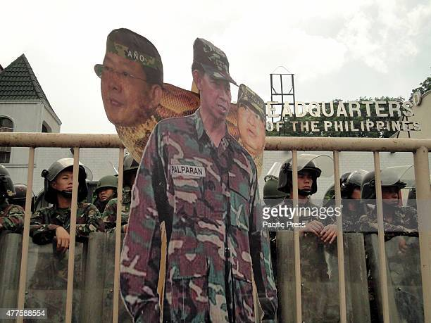 A standee of retired army general Jovito Palparan conjoined with the heads of military intelligence chief Eduardo and army general Aurelio Baladlad...
