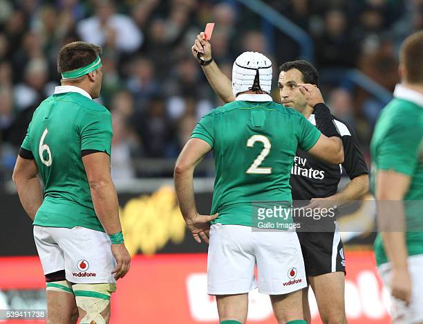 Stander of Ireland receives a red card during the 1st Castle Lager Incoming Series Test match between South Africa and Ireland at DHL Newlands...