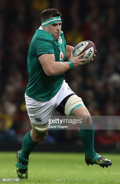 Stander of Ireland runs with the ball during the RBS Six Nations match between Wales v Ireland at the Principality Stadium on March 10 2017 in...