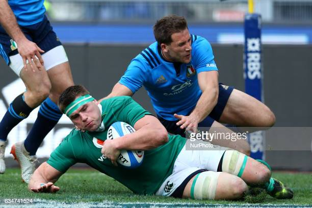 CJ Stander of Ireland scoring a try at Olimpico Stadium in Rome Italy on February 11 2017 during the team's Six Nations rugby union match between...