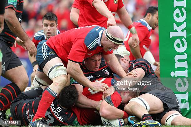 Stander scores a try for Munster during the Heineken Cup Quarter Final match between Munster and Toulouse at Thomond Park on April 5 2014 in Limerick...