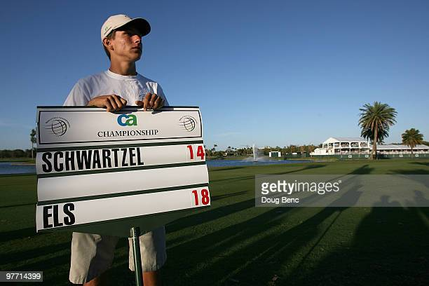A standered bearer on the 16th hole during the final round of the 2010 WGCCA Championship at the TPC Blue Monster at Doral on March 14 2010 in Doral...