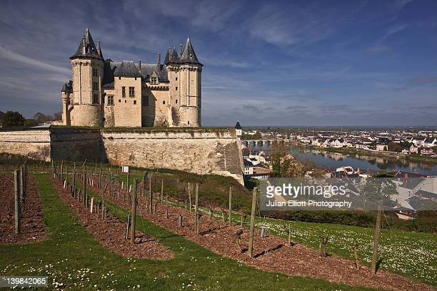Standing above the town of Saumur in France, the current chateau has been stood here since the 12th century. In the distance can be seen the river Loire. A small vineyard is in the foreground.