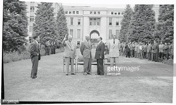 Standing at the Summit Geneva Switzerland The Big Four heads of government stand before the Palais des Nations at Geneva on the second day of the...