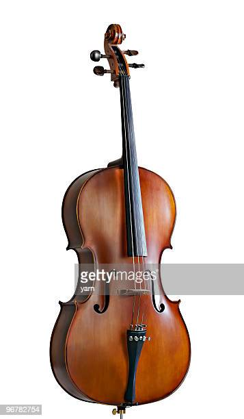 Standing cello against a white background