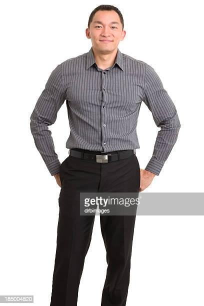 Standing Content Asian Man