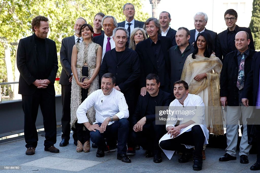 standing Franc Aleu-Peret, Freida Pinto, Harold McGee, Ferran Adria; Miquel Barcelo, Lisa Randall and Nandita Das. Crouched: Spanish chefs of 'El Celler de Can Roca' Joan, Roca, Josep Roca and Jordi Roca attend 'El Somni', 'The Dream' Gastronimic Opera Performance on May 6, 2013 in Barcelona, Spain.