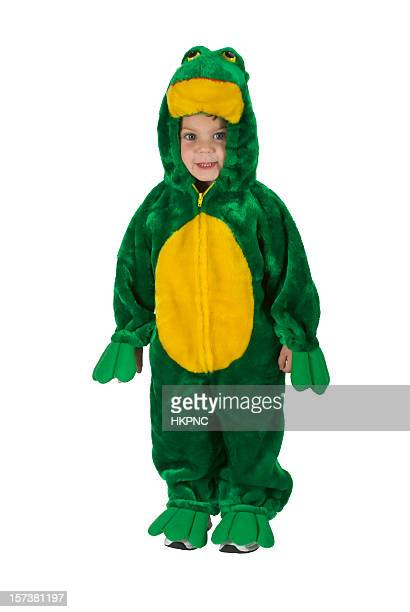 Standing Halloween Toddler Boy In Frog Costume – Clipping Path